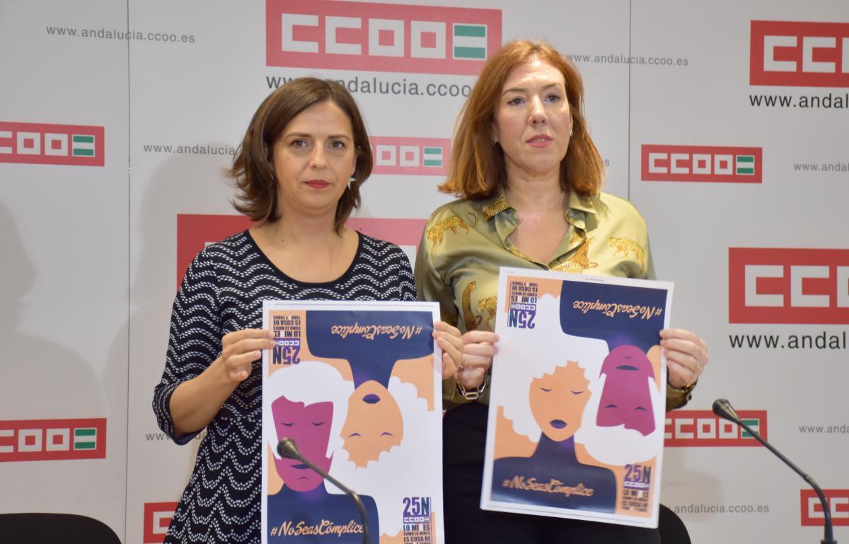 CCOO acusa a la Junta de  Andalucía de recortar en un 50% las políticas de protección de las mujeres. Las secretarias de la Mujer de CCOO-A, Yolanda Carrasco (izq); y de CCOO Sevilla, Eva Martínez (dcha).